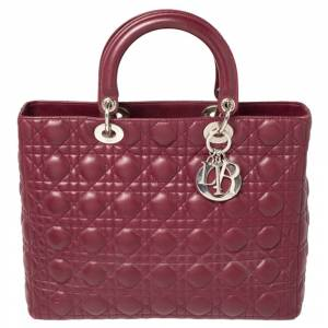 Christian Dior Burgundy Cannage Leather Large Lady Dior Tote