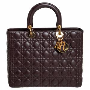 Christian Dior Dark Brown Cannage Leather Large Lady Dior Tote
