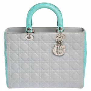 Christian Dior Grey/Turquoise Cannage Leather Large Lady Dior Tote