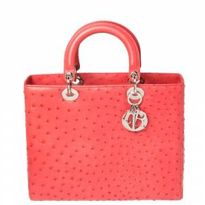 Christian Dior Coral Red Ostrich Large Lady Dior Tote