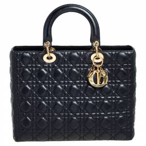 Christian Dior Black Leather Large Lady Dior Tote
