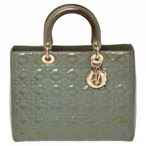 Christian Dior Green Cannage Patent Leather Large Lady Dior Tote