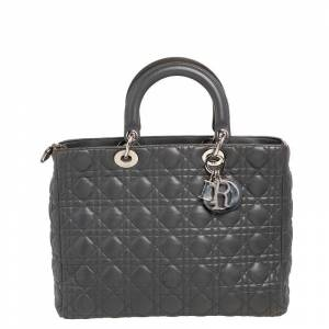 Christian Dior Grey Cannage Leather Large Lady Dior Tote