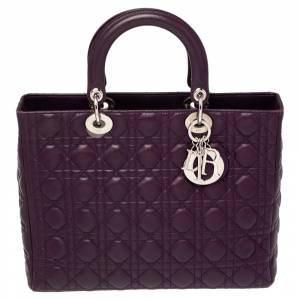 Christian Dior Purple Cannage Leather Large Lady Dior Tote