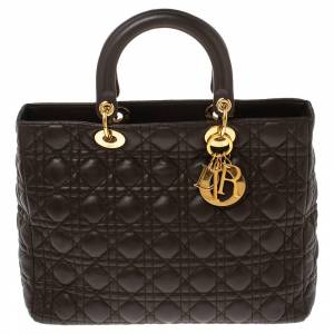 Christian Dior Brown Cannage Leather Large Lady Dior Tote