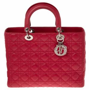 Christian Dior Hot Pink Cannage Leather Large Lady Dior Tote