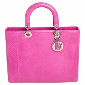 Christian Dior Pink Python Large Lady Dior Tote