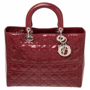 Christian Dior Red Cannage Patent Leather Large Lady Dior Tote