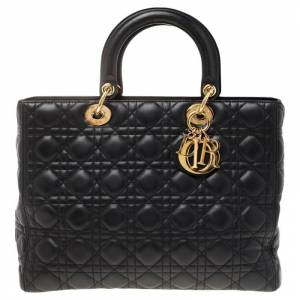 Christian Dior Black Cannage Leather Large Lady Dior Tote