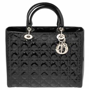 Christian Dior Black Cannage Patent Leather Large Lady Dior Tote