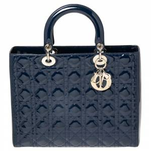 Christian Dior Blue Cannage Patent Leather Large Lady Dior Tote