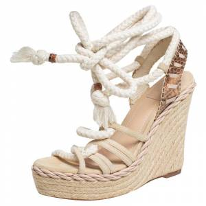 Christian Dior Beige Suede And Python Rope Espadrille Wedge Ankle Wrap Sandals Size 39