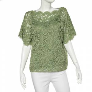 Dolce & Gabbana Green Floral Lace Top M