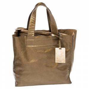 Furla Olive Green Patent Leather Divide It Tote