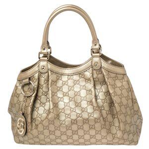 Gucci Gold Guccissima Leather Medium Sukey Tote