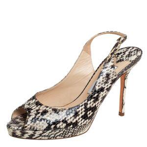 Jimmy Choo Brown/Beige Python Nova Peep Toe Slingback Sandals Size 37