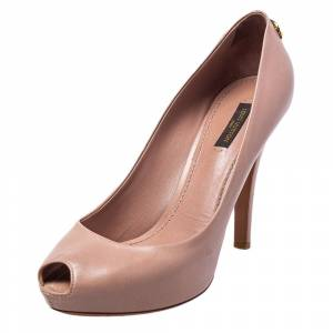 Louis Vuitton Beige Leather Oh Really! Peep Toe Pumps Size 39