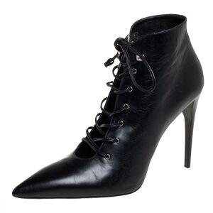 Miu Miu Black Leather Lace-Up Booties Size 40