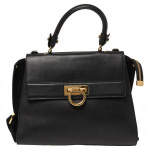 Salvatore Ferragamo Black Leather and Suede Medium Sofia Top Handle Bag