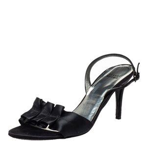 Stuart Weitzman Black Satin Pleated Open Toe Sandals Size 43.5
