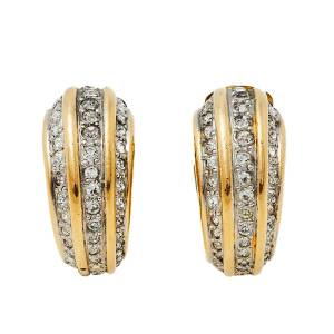 Valentino Crystal Gold Tone Clip On Earrings
