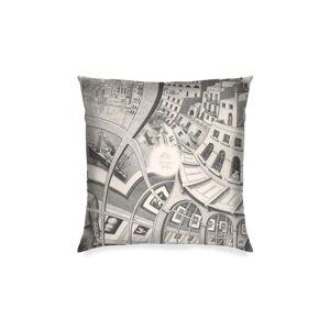 "VIDA Square Pillow Cover - Mc Escher Painting in White by VIDA Original Artist  - Size: Luster / 20"" / Single"