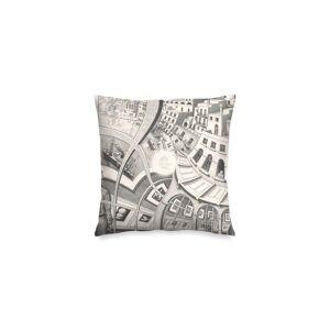 "VIDA Square Pillow Cover - Mc Escher Painting in White by VIDA Original Artist  - Size: Matte / 16"" / Single"