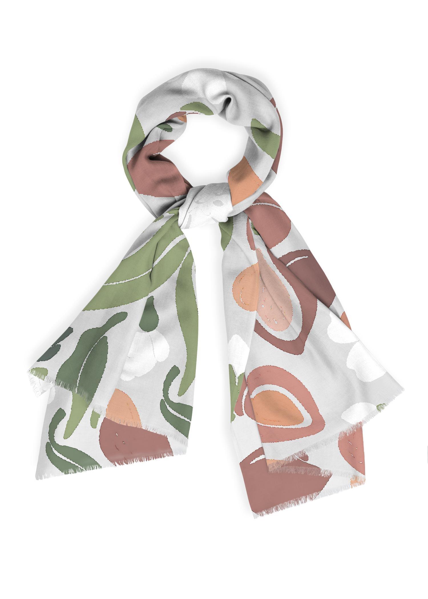 VIDA Cashmere Silk Scarf - Vintage Fashion Floral Ar in Brown/White by VIDA Original Artist  - Size: One Size