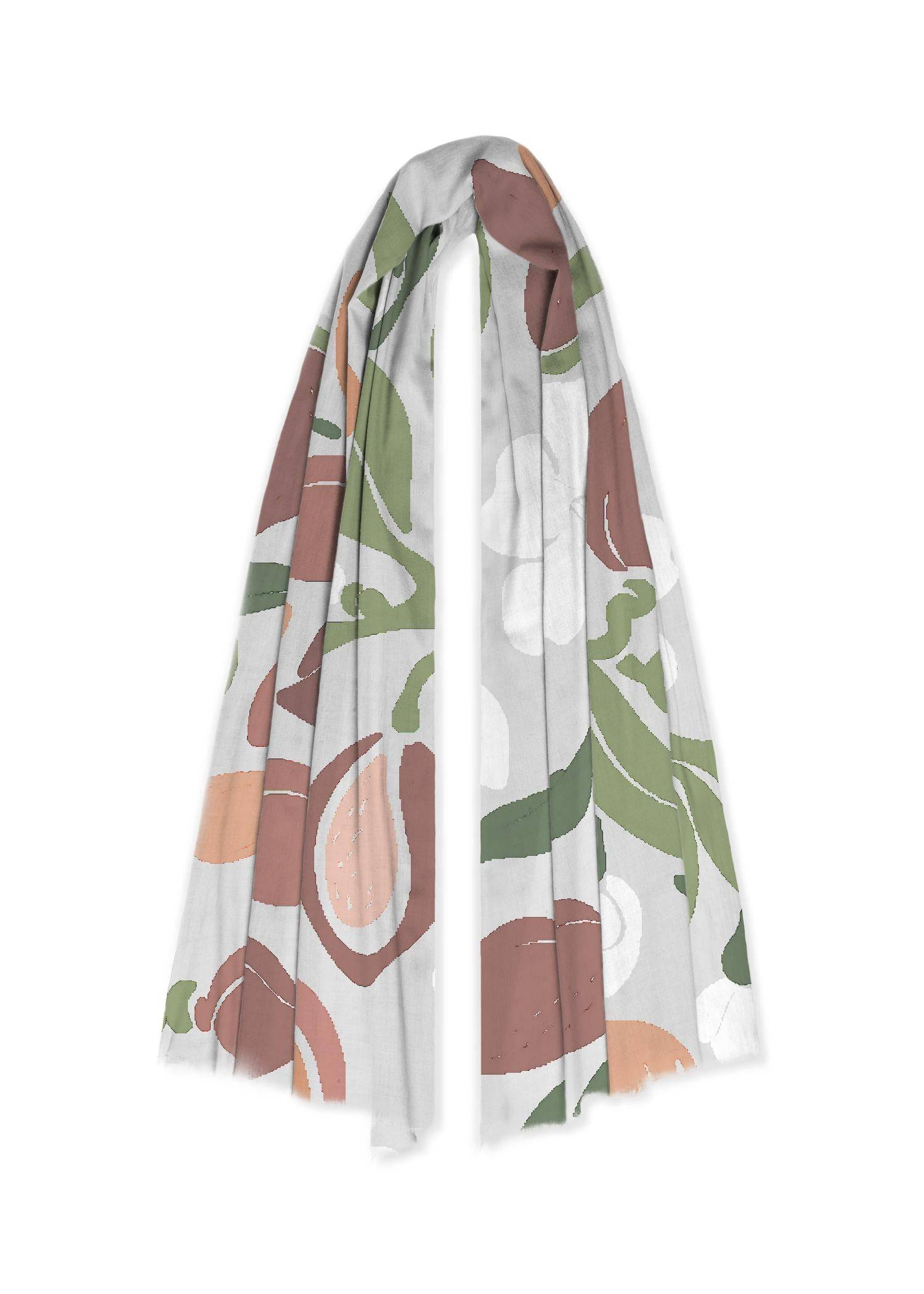VIDA 100% Cashmere Scarf - Vintage Fashion Floral Ar in Brown/White by VIDA Original Artist  - Size: One Size