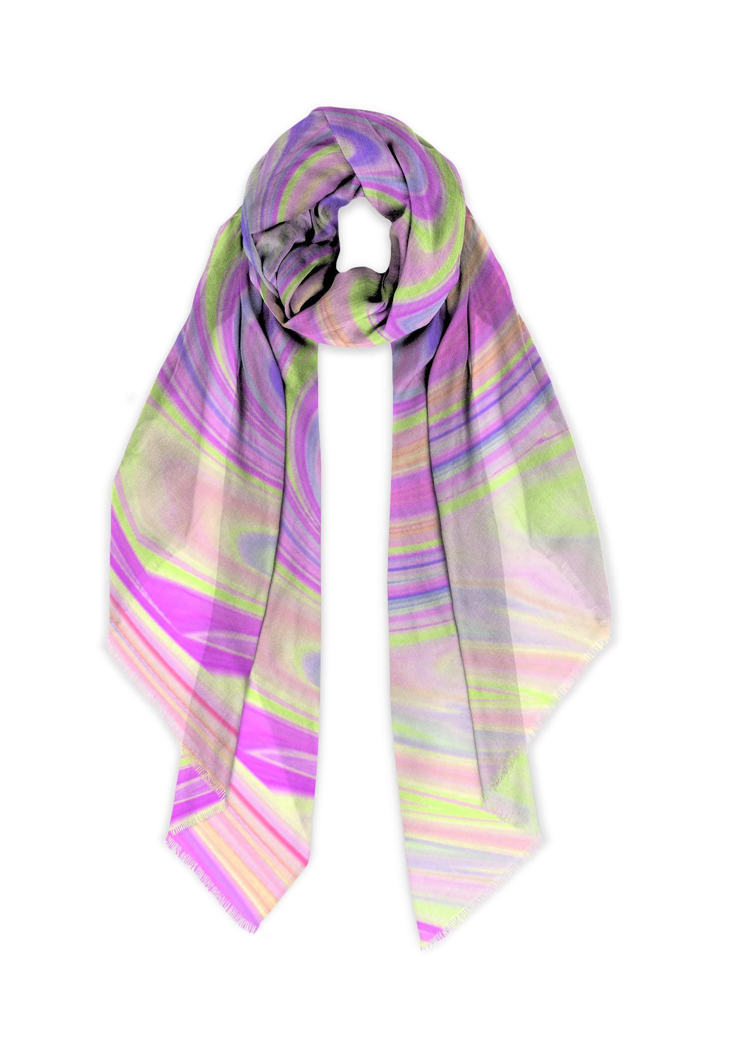 VIDA Modal Scarf - Fashion Waves in Pink/Purple/Yellow by VIDA Original Artist  - Size: One Size