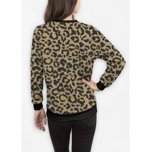 VIDA Women's Crewneck Sweatshirt - Leopard Pattern In Nat. 2 in Brown/Green/Yellow by VIDA Original Artist  - Size: Black / 1X
