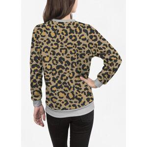 VIDA Women's Crewneck Sweatshirt - Leopard Pattern In Nat. 2 in Brown/Green/Yellow by VIDA Original Artist  - Size: Grey / 1X