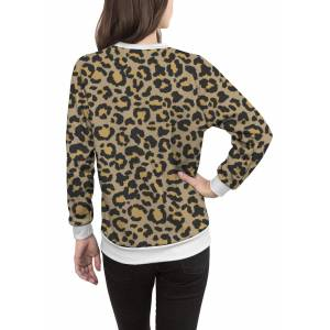 Women's Crewneck Sweatshirt - Leopard Pattern In Nat. 2 in Brown/Green/Yellow by VIDA Original Artist  - Size: White / 1X