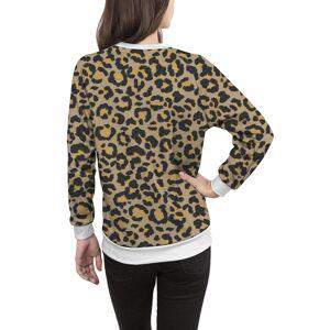 VIDA Women's Crewneck Sweatshirt - Leopard Pattern In Nat. 2 in Brown/Green/Yellow by VIDA Original Artist  - Size: White / 1X