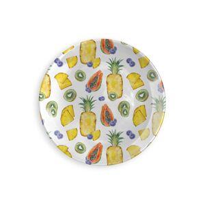Round Glass Tray - Mango Pineapple in Orange/White/Yellow by VIDA Original Artist  - Size: Large