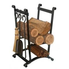 Compact Curved Indoor Firewood Rack with Tools
