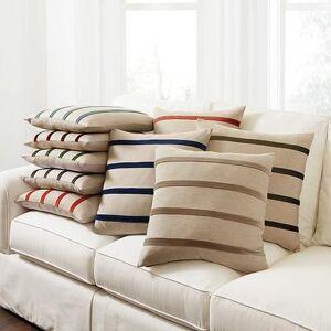 """Ballard Designs """"Velvet Striped Linen Pillow Cover Natural/Slate 20"""""""" x 20"""""""" - Ballard Designs"""""""