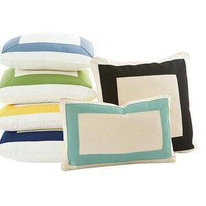 "Ballard Designs ""Outdoor Bordered Pillow Cover Canvas Taupe Sunbrella 12"""" x 20"""" - Ballard Designs"""