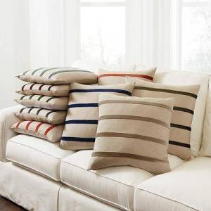 """Ballard Designs """"Velvet Striped Linen Pillow Cover Natural/Red 20"""""""" x 20"""""""" - Ballard Designs"""""""