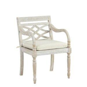 Ballard Designs Ceylon Whitewash Armchair Replacement Cushion Canopy Stripe Red/White Sunbrella - Ballard Designs