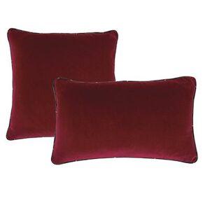 "Ballard Designs ""Signature Velvet & Plaid Pillow Cover Red with Mackenzie Plaid 12"""" x 20"""" - Ballard Designs"""