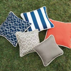 Ballard Designs Corded Pillows - 20 inch square Canopy Stripe Kiwi/Sand Sunbrella - Ballard Designs