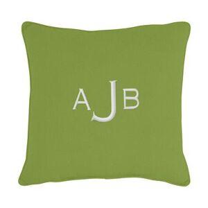 "Ballard Designs ""Monogrammed Outdoor Throw Pillow Cover Canvas Taupe Sunbrella 20"""" x 20"""" - Ballard Designs"""