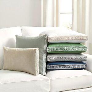 """Ballard Designs """"Embroidered Box Edge Pillow Cover Flax/White 12"""""""" x 20"""""""" - Ballard Designs"""""""
