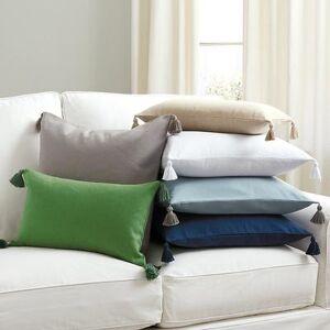 """Ballard Designs """"Linen Tassel Pillow Cover Marine Blue 12"""""""" x 20"""""""" - Ballard Designs"""""""
