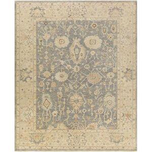 Hauteloom Penyffordd 8' x 10' Traditional 100% Wool Teal/Medium Gray/Cream/Light Gray/Dark Brown/Peach/Butter Area Rug - Hauteloom