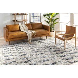 "Hauteloom ""Ingham 8'10"""" x 12' Global 100% Wool Taupe/Cream/Medium Gray/Dark Brown/Navy/Denim Area Rug - Hauteloom"""