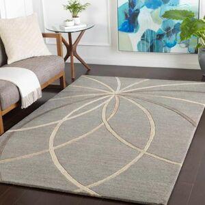 Hauteloom Charlevoix 12' x 15' Modern 100% Wool Medium Gray/Cream/Camel/Light Gray Area Rug - Hauteloom