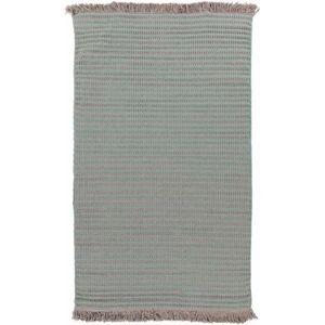 Hauteloom Gardena 5' x 8' Modern Solid Stripes Bohemian Wool Teal/Taupe Area Rug - Hauteloom