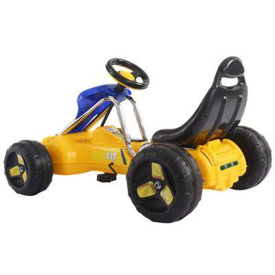 Costway Go Kart Kids Ride On Car Pedal Powered Car 4 Wheel Racer Toy Stealth Outdoor-Yellow